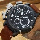Men Watch U-BOAT Chronograph Stainless Steel Case 50mm Brown Leather Strap