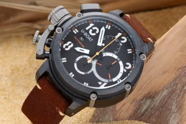Men Watch U-BOAT Italo Fontana Size 50mm Chronograph Leather Strap Case Stainless Steel