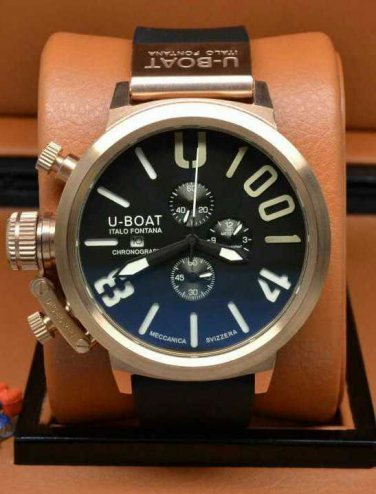 Men Watch U-Boat 1001 Chronograph Stainless Steel Case  50mm Rubber Strap