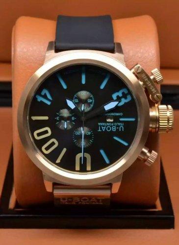 Men Watch U-Boat 1001 Chronograph Rubber Strap Black Blue Color 20mm