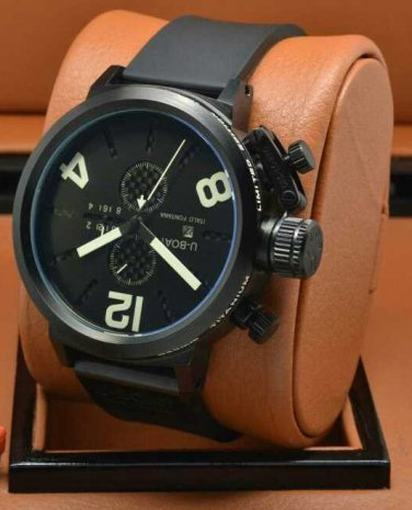 Men Watch U-Boat Chronograph 50mm Stainless Steel Case Rubber Strap