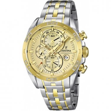 Festina   F16655/2 Men Watch Cheonograph Stainless Steel Dial Color Gold