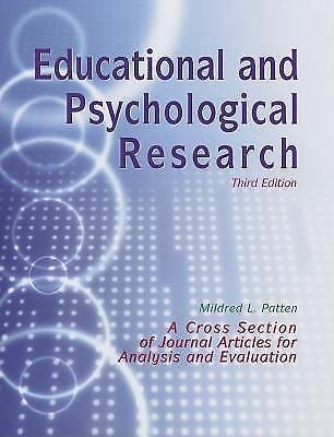 Educational and Psychological Research-3rd Ed : A Cross Section of Journal...