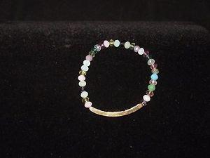 "Multi-tone Beaded Fashion Stretch Bracelet with Inspirational ID - 7"""