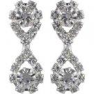 Silver‑Tone Figure 8 Crystal Dangle Earrings Silver