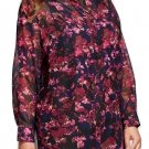 Women's Ava & Viv Plus Size Printed Button Front Tunic, Black Cherry Floral, 2X