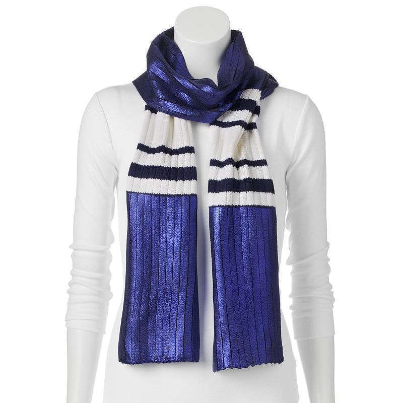 Juicy Couture Metallic Striped Oblong Scarf, Navy Sea