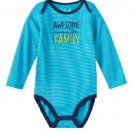 Baby Boy Jumping Beans Family Statements Striped Bodysuit, Blue, 6 Months