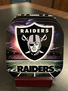 Custom Made Drink Coasters with Mahogany Stand Oakland Raiders 4Pack