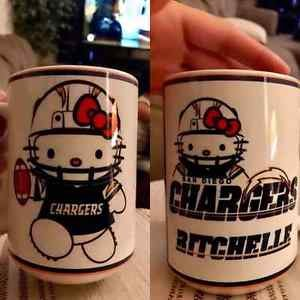 Custom Made New Hello Kitty San Diego Chargers 15oz Coffee Cup with your name.