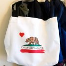 Custom Made CALIFORNIA LOVE State Flag Canvas Tote Book Bag Shopper Grocery