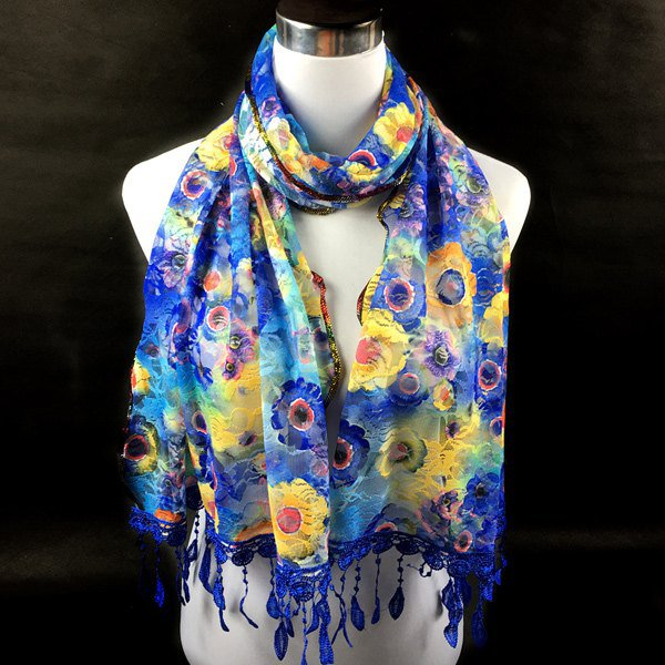 Scarf Blue and Gold FLowers