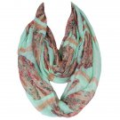 Jade and tan Owl Print Voile Scarf For Women