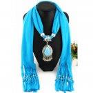 Faux Gem Water Drop Pendant Jewelry Scarf For Women