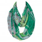 Green Leopard Patchwork Pattern Voile Circle Loop Infinite Scarf For Women
