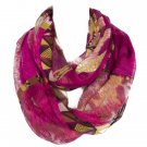 Rose Fur Pattern Multicolor Voile Scarf For Women