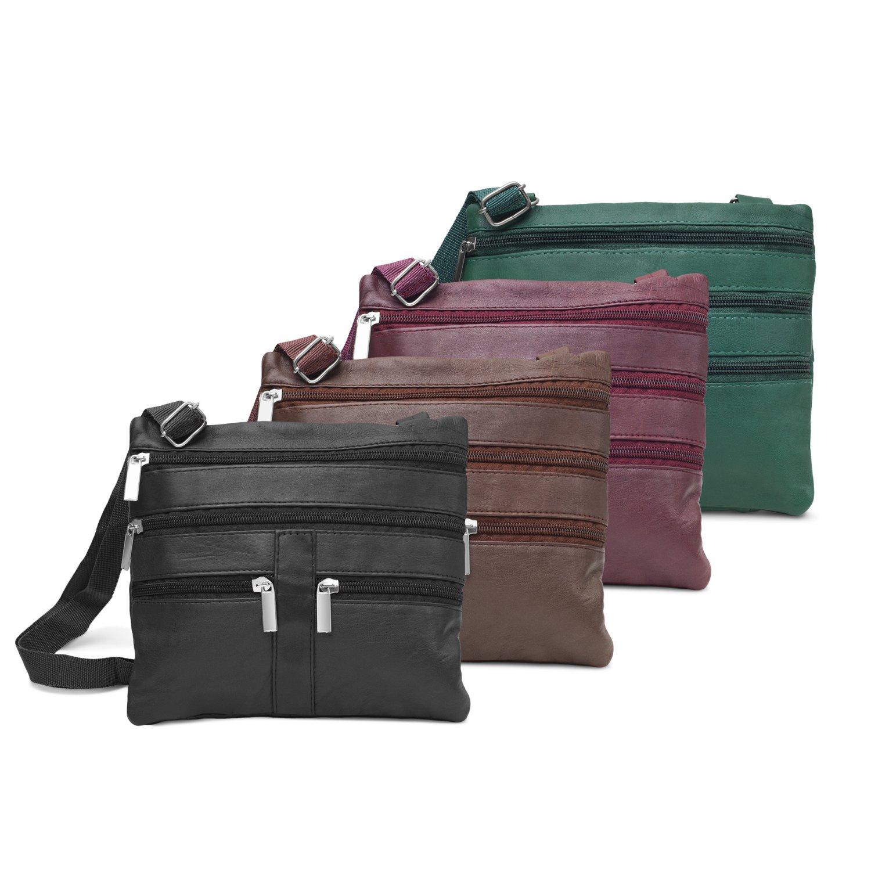 Leather Zippered Aviv Crossbody Bag