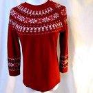 Talbots Fair Isle Sweater Women's Petite Red Winter Design 3/4 Sleeve Lambswool