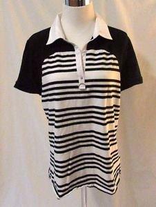 Women's Lauren Ralph Lauren Striped Shirt Top Size XL Black & White Stretchy