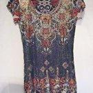 Sequin Dress Women's Size S  Black Gold Silver Geometric Floral