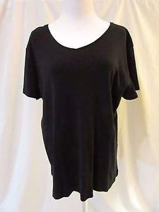 Chico's V-Neck Knit Top Shirt Women's 3 (XL) Black Short Sleeve 100% Cotton