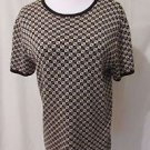 Talbots Women's  Medium Pullover Knit Short Sleeve Shirt Black With Diamonds