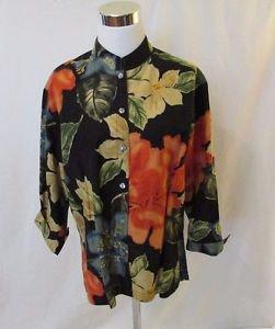 Chico's Design Floral Blouse Shirt Women's 1 (M) Mandarin Collar 3/4 Sleeves