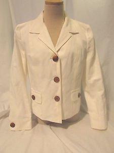 Talbots Blazer Jacket Women's Size 10 White Button Front Great Look!!!