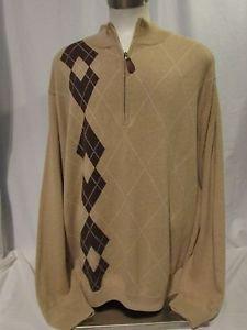 Walter Hagen Men's Argyle Sweater Size XXL 1/4 Zipper Tan & Brown Long Sleeve