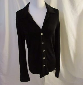 Chico's Travelers Shirt Top Women's 0 (S) Black Long Sleeve Wrinkle Resistant