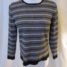 Talbots Petite Striped Sweater Women's S Crew Neck Gray Black White 3/4 Sleeve