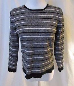 Talbots Petite Striped Sweater Women's S Crew Neck Gray Black White 3/4 Sleeve