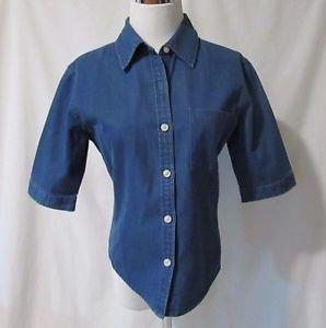 Talbots Petites Denim Shirt Women's P Buttons Front Pocket Blue 1/2 Sleeve