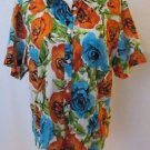 Talbots Colorful Floral Women's Blouse Size XL 100% Cotton Short Sleeve Breezy