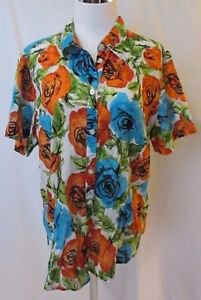 Talbots Colorful Floral Women's Blouse Size XL 100% Cotton Short Sleeve Breezy