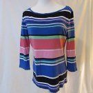 Talbots Top Shirt Women's Medium Long Sleeve Pullover Crewneck Striped