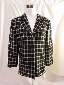 Talbots Petite Coat Jacket Women's Size 10 Wool Black & White Plaid Design Lined