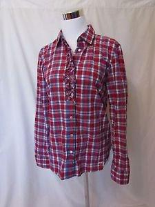 Talbots Blouse Shirt Women's Size 4 Long Sleeve Button Front Plaid Ruffle