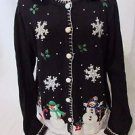 Christmas Sweater Women's L Black Removable Faux Fur Snowmen Collar Long Sleeve