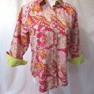 Lauren Ralph Lauren Shirt Blouse Women's 6 Paisley Pink 3/4 Sleeve Contrast Cuff