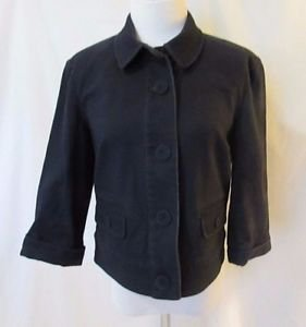 Talbots Navy Jacket Women's 6 Stretch 3/4 Sleeves Covered Buttons