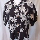 Tommy Bahama Shirt Women's XS  Silk Linen Short Sleeve Black Floral