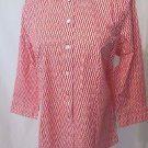 Talbots Women's 6P 3/4 Sleeve Button Front Shirt. Red and White Design