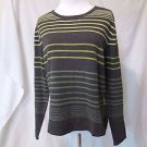 Talbots Striped Shirt Top Women's Large Gray with Strips Long Sleeve Crewneck