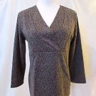 Chico's Top Shirt Women's 1 (Medium) Gray Animal Print 3/4 Sleeves V-Neck
