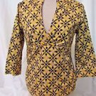 Talbots Shirt Women's Small Stretch V Neck Pullover 3/4 Sleeve Geometric design