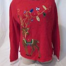 Christmas  Sweater Women's Size Medium Red Reindeer Embellished Crewneck