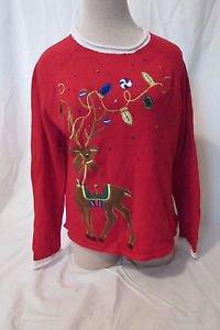 Christmas  Sweater Women's Size Medium Red Reindeer Embellished Crewneck