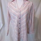 Talbots Blouse Shirt Women's Sz 10 Wrinkle Resistant Stretch 3/4 Sleeves Strips
