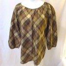 Talbots Silk Tartan Plaid Shirt Top Women's Small Pullover Crew Neck 3/4 Sleeves